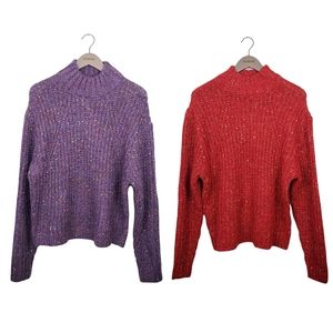 A New Day Mock Neck Marled Knit Sweater Lot